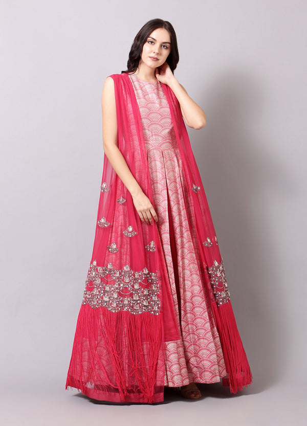 Blush Pink Anarkali with Cape