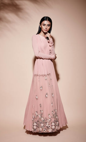 Rose pink pleated anarkali