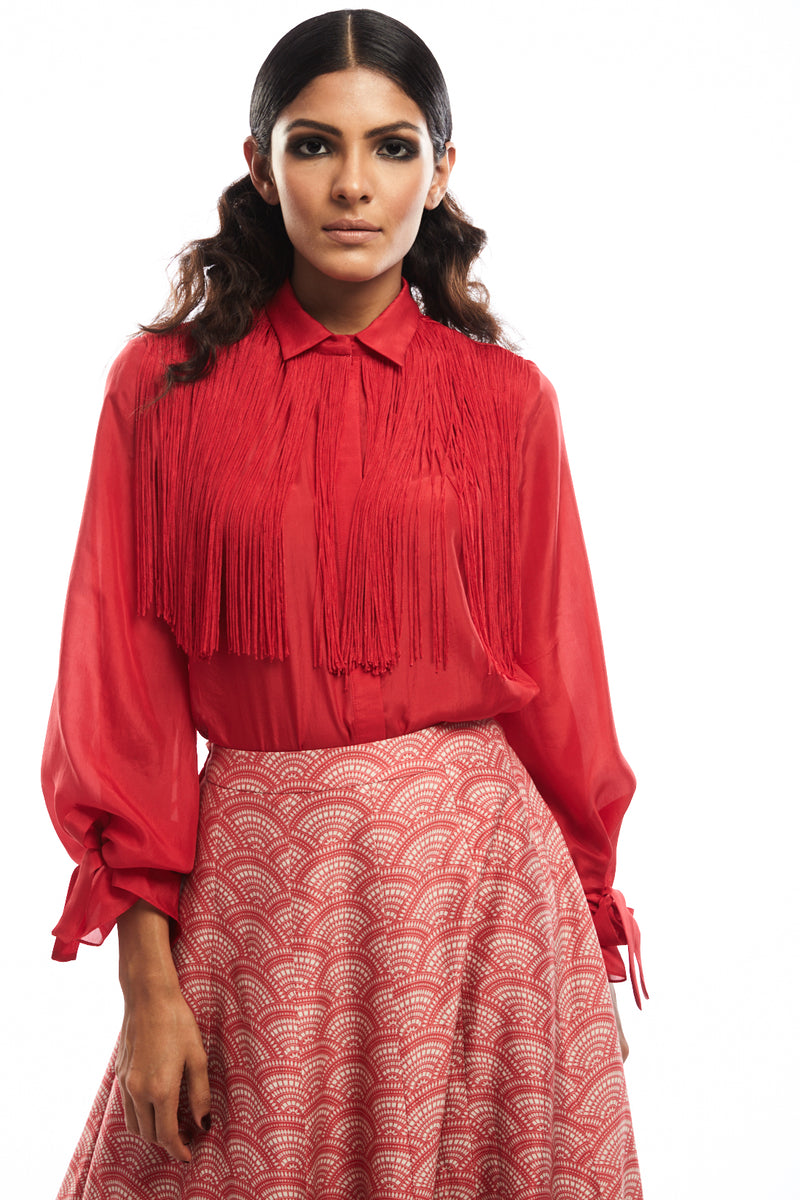 Red Shirt with Fringes