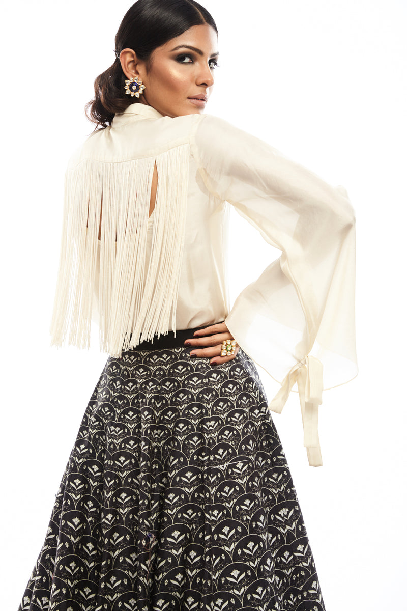 Ivory Silk Shirt with Fringes