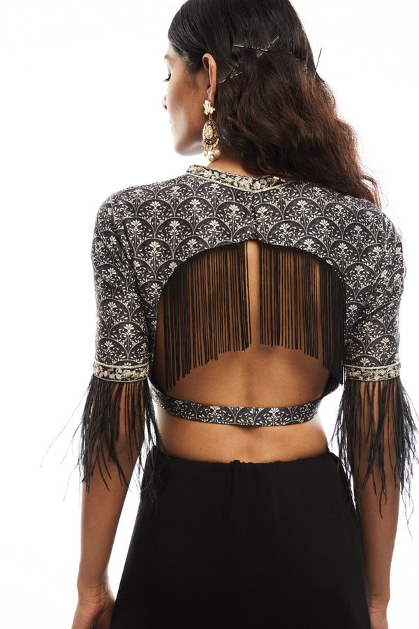Black Scallop Blouse with Fringes and Feather Detailing