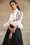 Embroidered Ruffle Shirt with Printed Skirt