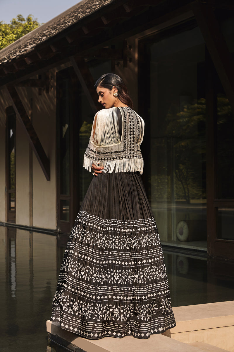 Anarkali with Fringed Cape