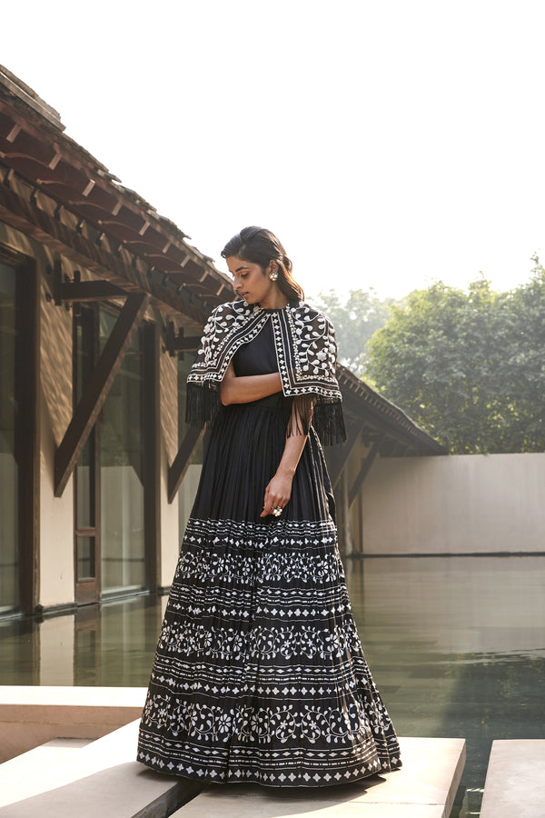 Printed  Anarkali With Embellished Cape