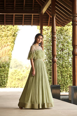 Mint Green Feather Anarkali