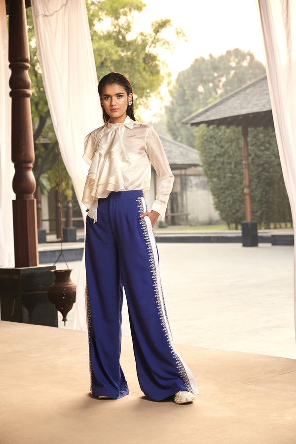 Embroidered Blue Pants