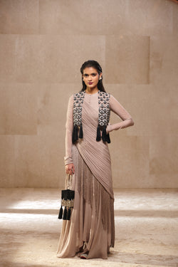 Draped anarkali with embroidered, tassels jacket