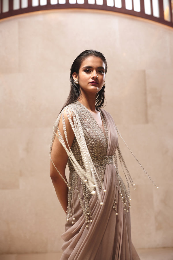 Dripping Pearls Saree