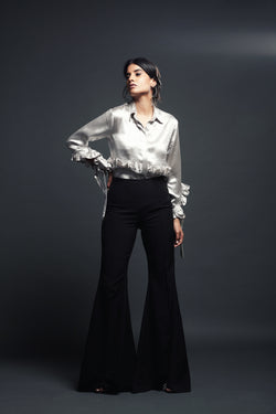 Metallic Shirt with Feather Detailing