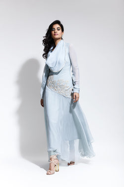 Long Asymmetric Tunic with Churidar