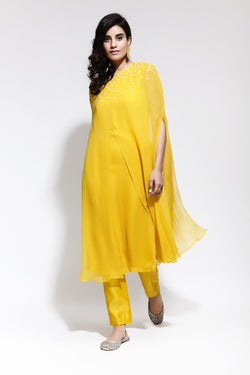 Front Slit Motif Kurta with Ankle Length Pants