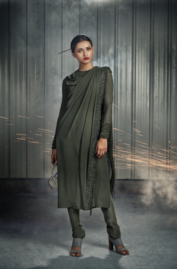 Military Green Draped Kurta with Churidar