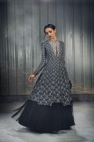 Black Gradient Anarkali with Fringed Hem