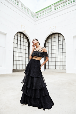 Black Tiered Lehnga with Ruffle Blouse
