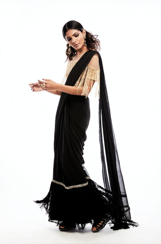 Embroidered Black Saree with Fringed Hem