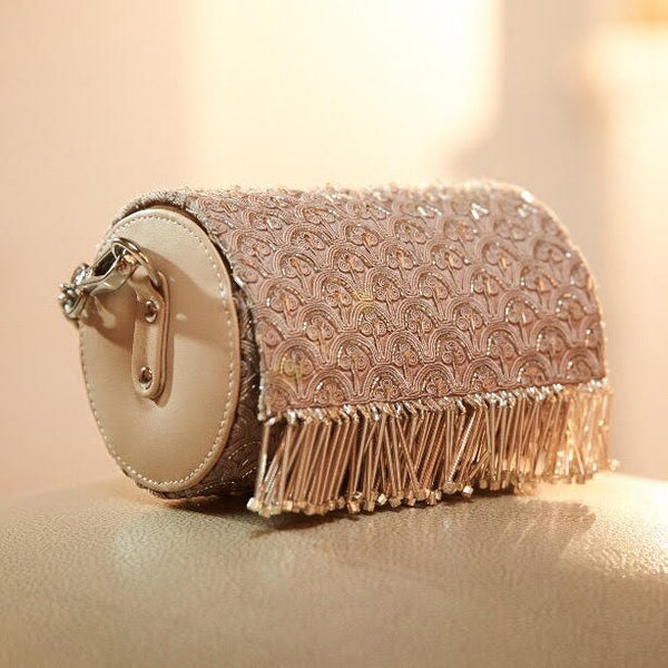 Champagne Color Embroidered Bag With Metallic Chain Handle