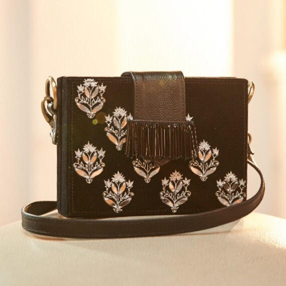 Black Velvette Box Clutch With Ivory And Silver Embroidery