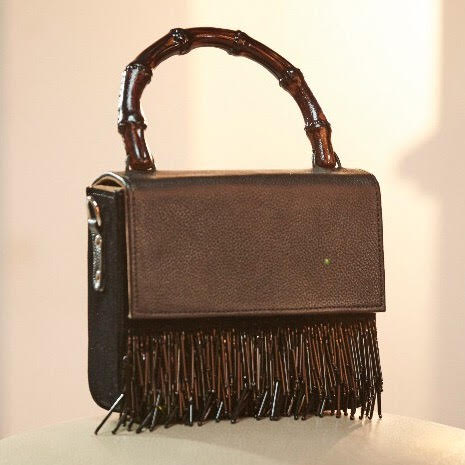 Black Leather Bag with Tassel Detailing and  Bamboo Handle
