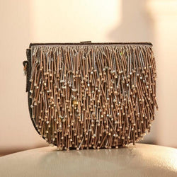Metallic Leather Semi Circle Clutch