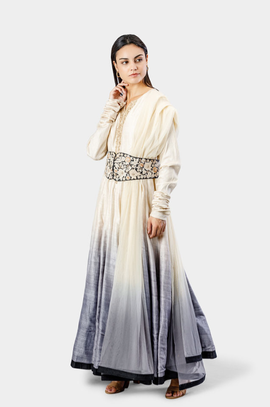Embroidered Belted Anarkali Set