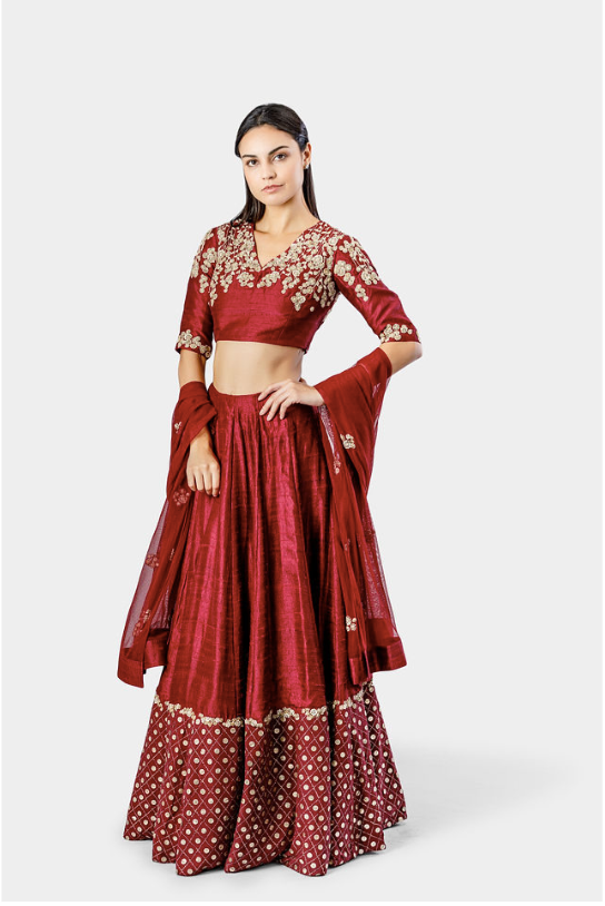 Burgundy Embroidered Lehnga Set