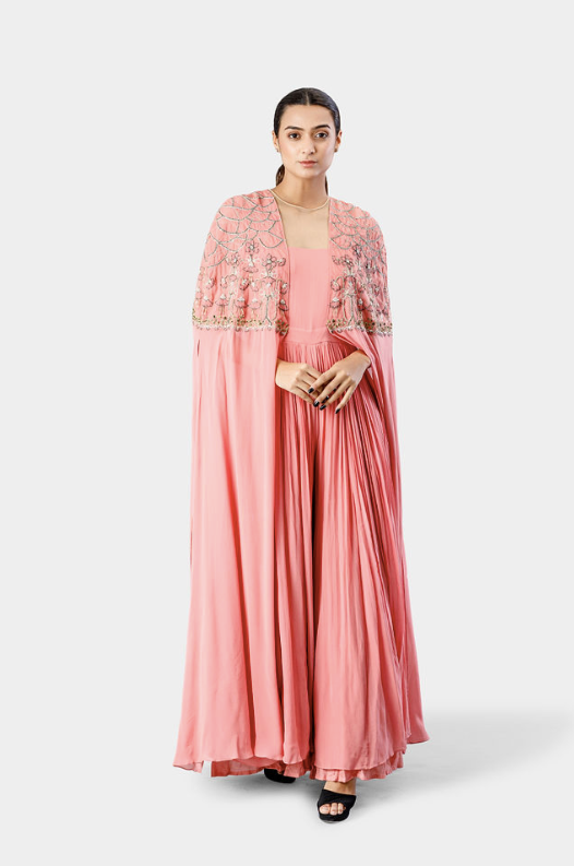 Blush Pink Embroidered Cape Jumpsuit
