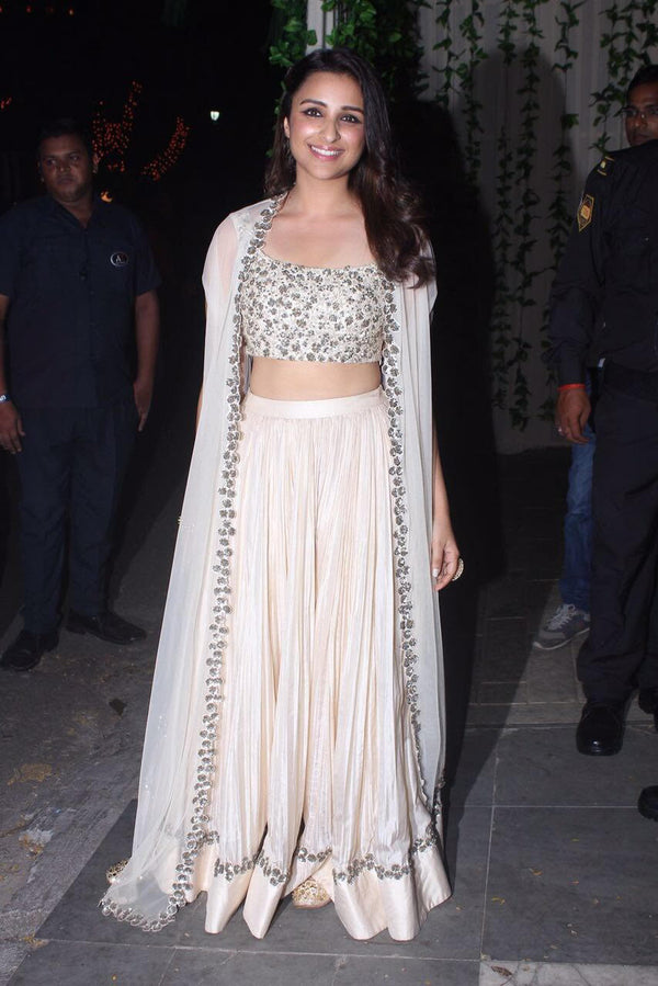 Parineeti Chopra In Sequin Embellished cape Lehnga set