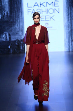 Burgandy flared jumpsuit