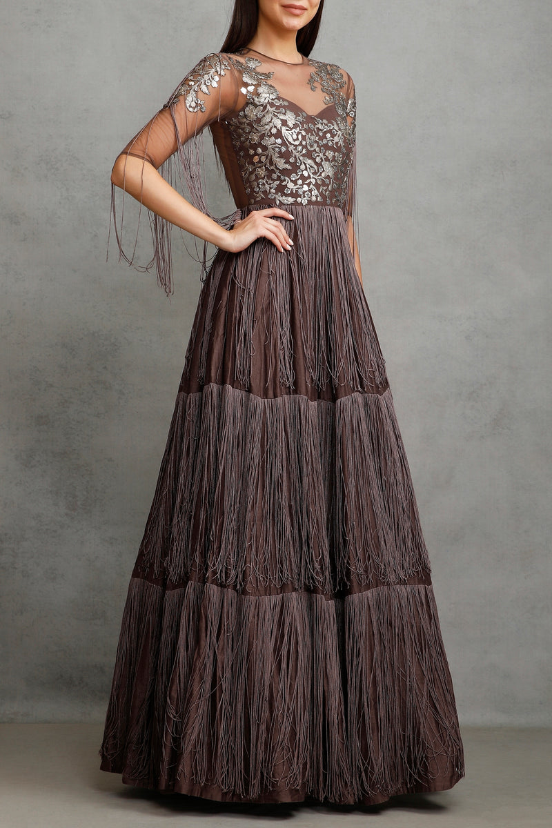 Brown fringe anarkali