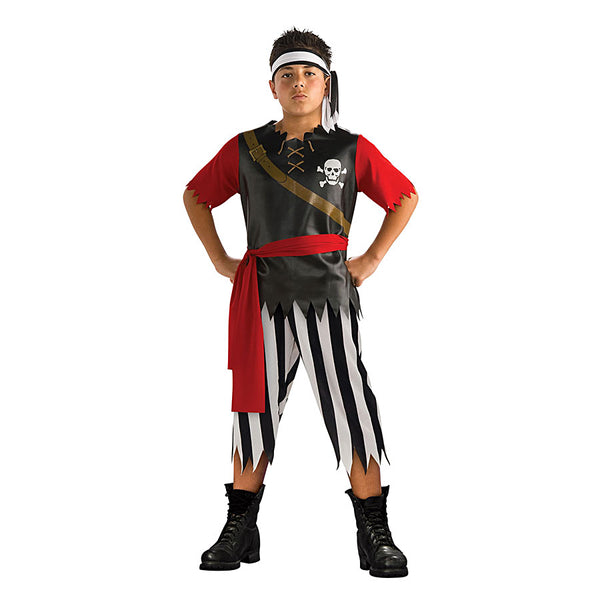 Book Week Historical Pirate King Costume, Black and Red top and striped trouser