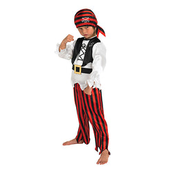 Pirate boy costume, white shirt, black vest, and red and black trouser and bandana