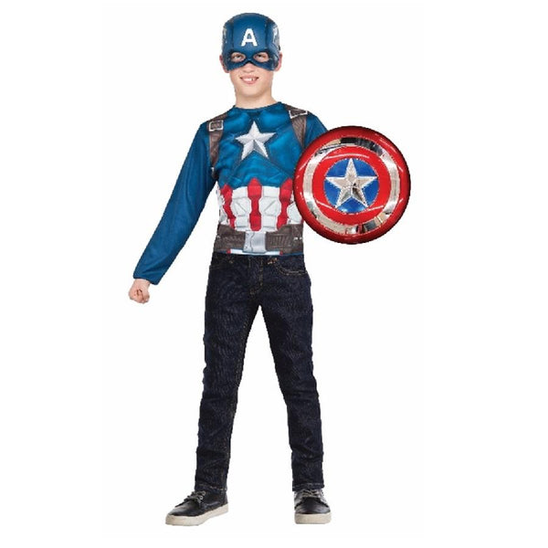 Captain America Top & Metallic Marvel Shield by Rubies Costume
