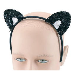 Black Sequin Cat Ears Headband Accessory by Rubies Costume
