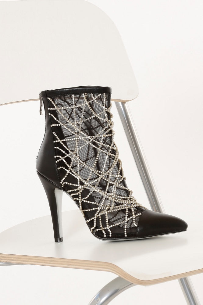 Rhinestone Web Ankle Boots