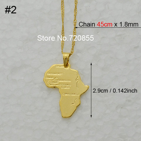 8 Stylemap of africa pendant necklace chain 45cm60cm african map