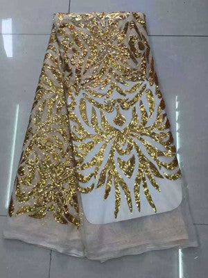 African Sequins Tulle Lace Gold Color Guipure African Sequence Cupion Lace  Fabric For Nigerian Wedding Dresses