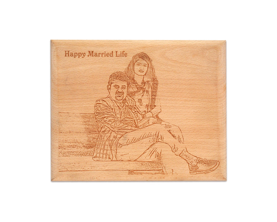 Engraved Wood Prints-Engraved Wooden Plaque-6 in X 9 in-