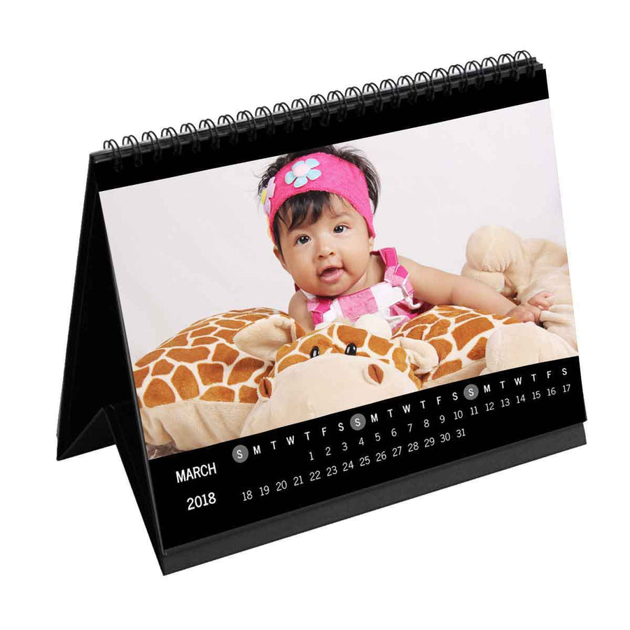 Calendars-2019 Photo Wrap Monthly Desk Calendar-6 inches x 8 inches-Black