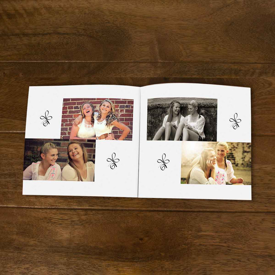 Softcover Photo Books-Best Friends Forever Grey Flip Photo Book-6 inches x 6 inches-20 Pages