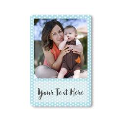 Fridge Magnets-Baby Picture Stories Photo Magnet - Polka Blue Portrait-
