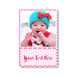 Fridge Magnets-Baby Picture Stories Photo Magnet - Polka Pink Portrait-