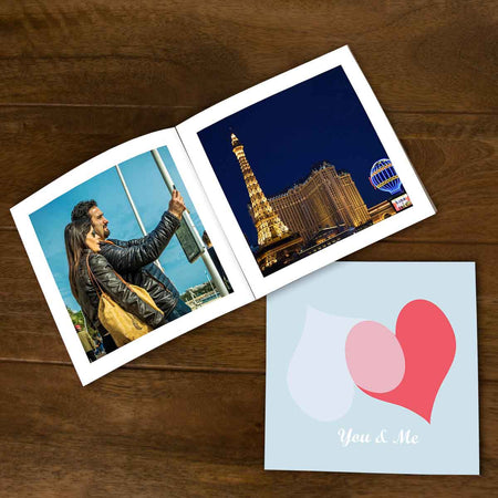 Softcover Photo Books-Blue Pink Hearts Flip Photo Book-6 inches x 6 inches-20 Pages