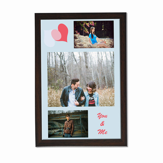 Collage Posters-Blue Pink Hearts Photo Collage Poster-Print Only (Without Frame)-