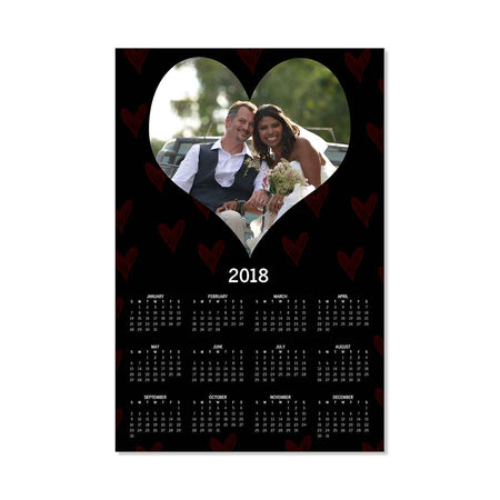 Calendars-2018 Poster Calendar - Hearts Galore-Black-