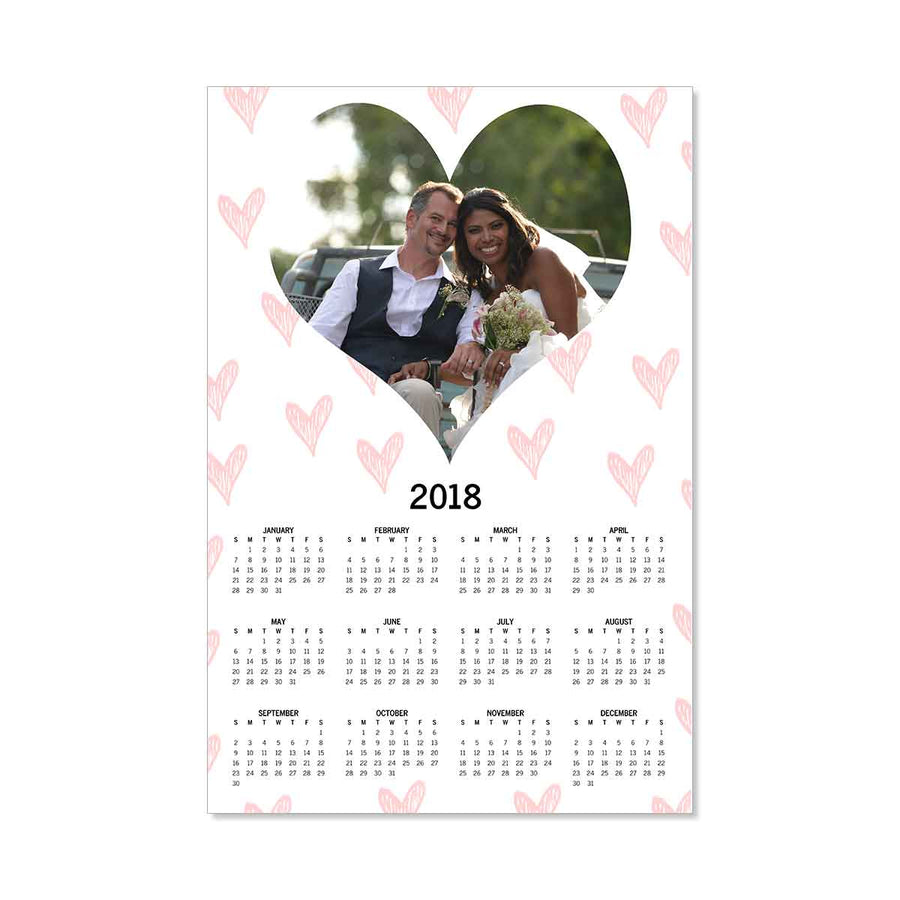 Calendars-2020 Poster Calendar - Hearts Galore-White-