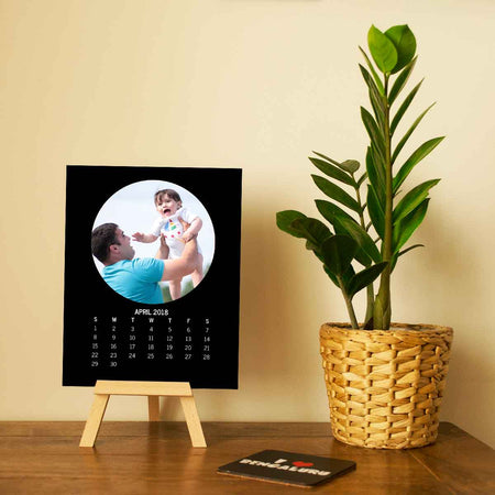 Calendars-2018 Easel Calendar Round Photo-6 inches x 8 inches-Black