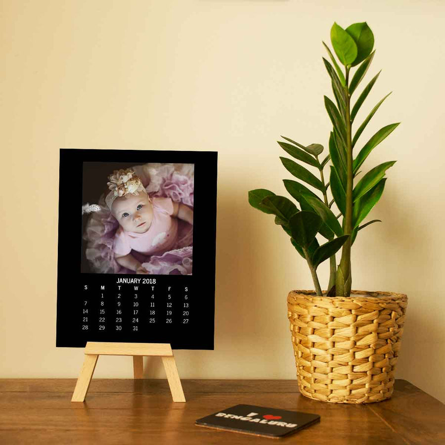 Calendars-2020 Easel Calendar Square Photo-6 inches x 8 inches-Black