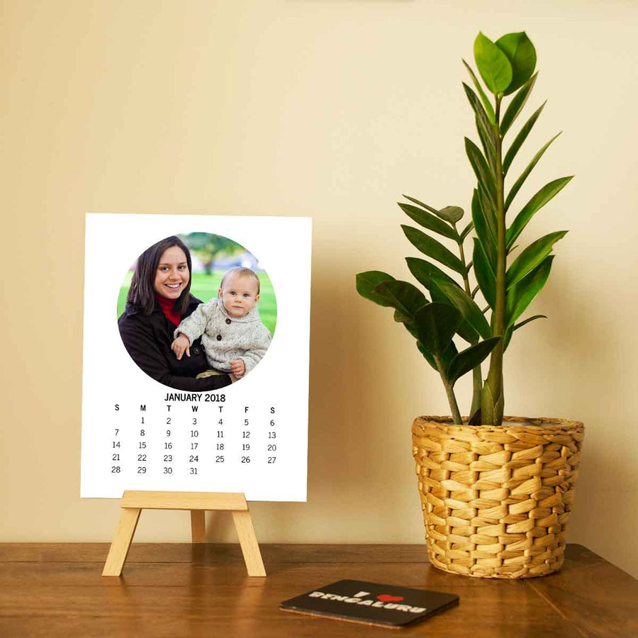 Calendars-2018 Easel Calendar Round Photo-6 inches x 8 inches-White