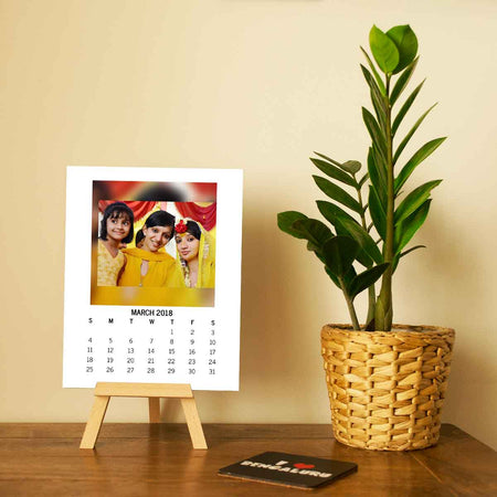 Calendars-2019 Easel Calendar Square Photo-6 inches x 8 inches-White