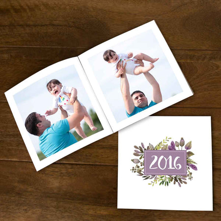 Softcover Photo Books-Annual Highlights Purple Floral Flip Photo Book-6 inches x 6 inches-20 Pages